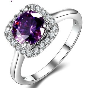 Jewelry - Amethyst AAA CZ 925 Sterling Silver Ring